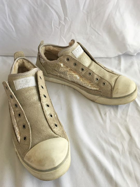 UGG Size 9.5 Gold Suede Sequin Sneakers