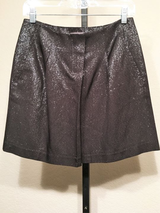VINCE Size 2 Black Metallic Mini Skirt