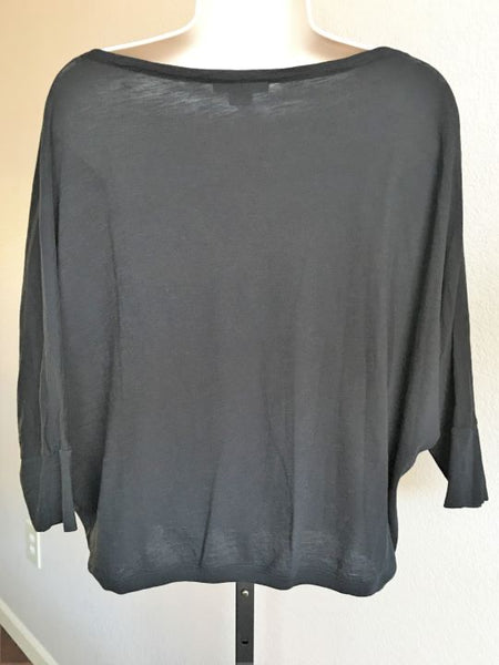 VINCE Size XS Black Dolman Sleeve Cropped Tee