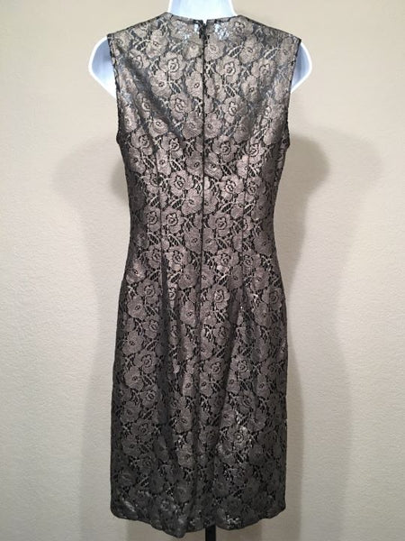 WHBM Size 4 Black Dress with Metallic Lace