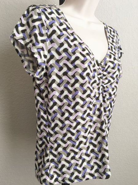 WORTH Size Small White Brown and Purple Silk Top