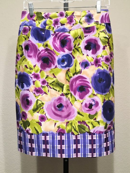 Yoana Baraschi Anthropologie Size 8 Purple Green Floral Skirt