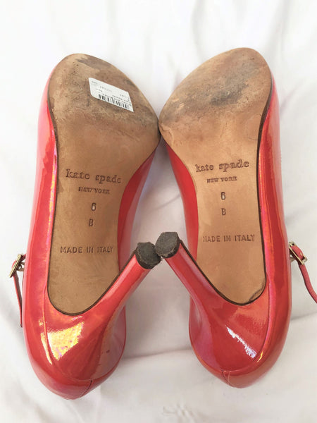 Kate Spade Size 6 Coral Patent Mary Jane Pumps