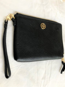 Tory Burch Black Leather Wristlet