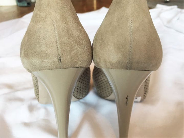 Bruno Magli Size 6.5 Gray Beige Peep Toe Pumps