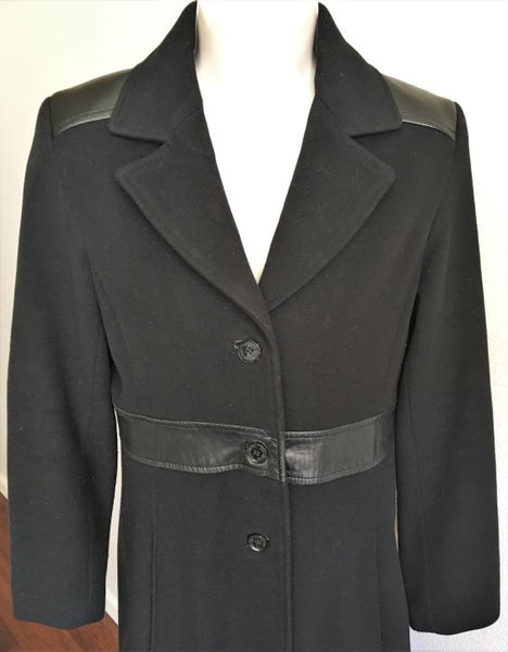 Andrew Marc Size 4 Black Wool Coat with Leather Trim