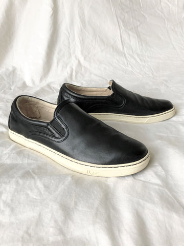 UGG Size 11 Black Leather Slip-on Sneakers