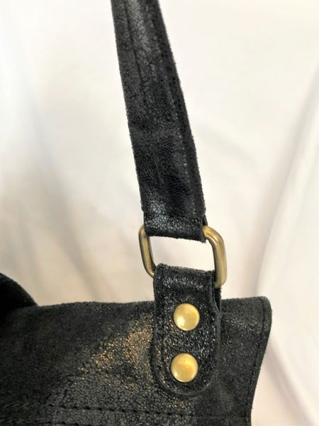 Borse in Pelle Black Metallic Shoulder Bag with Gold Studs