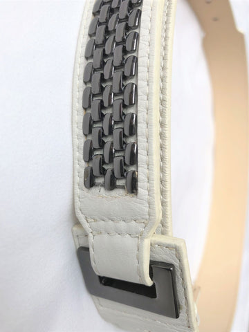 Belt - Reiss SMALL White Leather Silver Studs