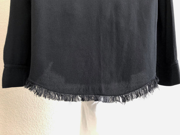 Raquel Allegra Size Medium Black Fringe Blouse