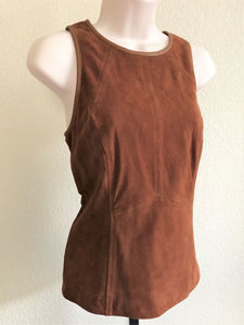 WHBM Size 2 Cognac Suede Sleeveless Top