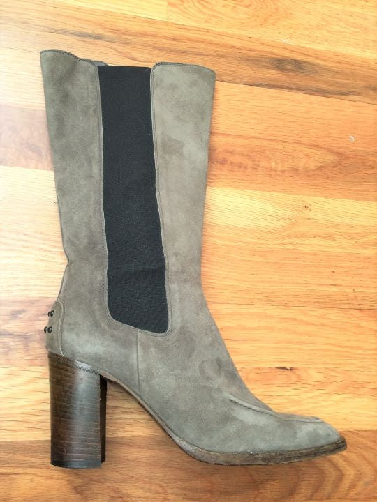 TOD'S Size 6.5 Olive Gray Suede Boots