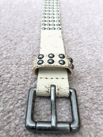 Belt - J.Crew LARGE Cream Leather Silver Studs