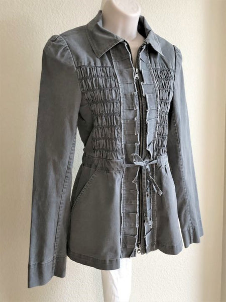 Nanette Lepore Size 6 Gray Denim Jacket