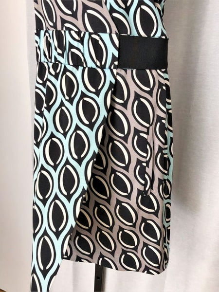 Diane von Furstenberg Size 4 Blue and Gray Geometric Dress