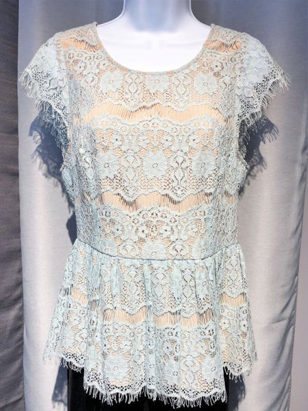 Maeve Anthropologie SMALL Blue Lace Peplum Top