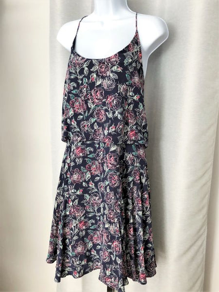 Joie Size LARGE Navy Floral Silk Dress