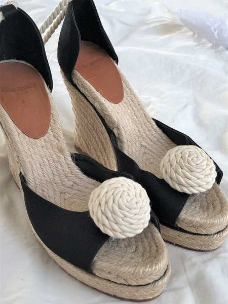 Kate Spade Size 8 Black and Jute Wedges