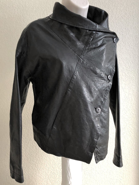VINCE Size XS Black Leather Jacket