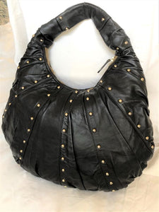 Goldenbleu Black Leather Studded Hobo