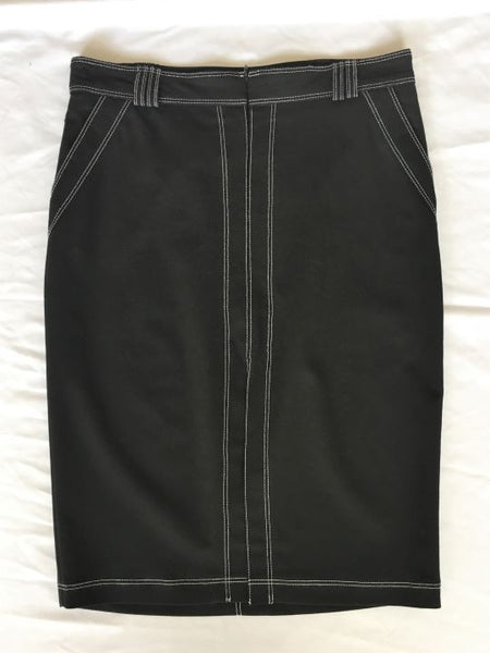bebe Size 2 Black Pencil Skirt with White Stitching
