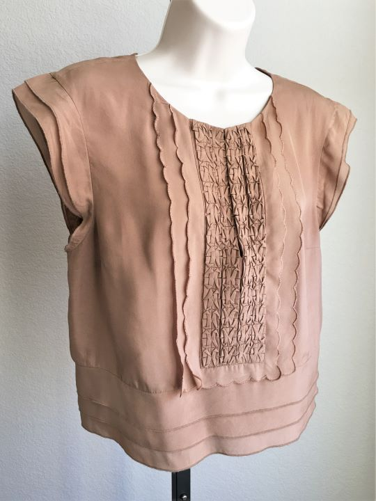 bebe Size Medium Tan Silk Ruffle Blouse