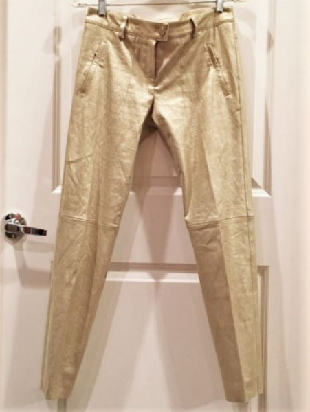 Escada Size 4 Gold Metallic Lambskin Suede Pants