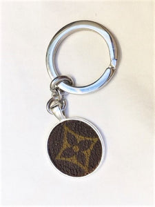 Louis Vuitton REPURPOSED Round Metal Key Ring with Monogram Canvas