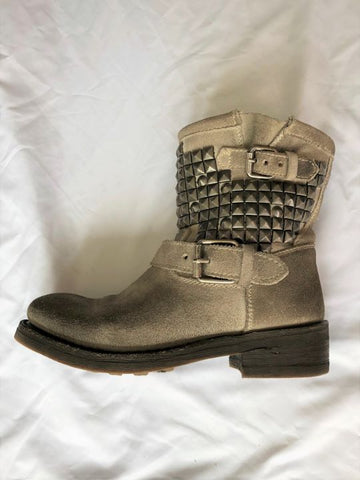 ASH Size 6 Taupe Suede Moto Boots