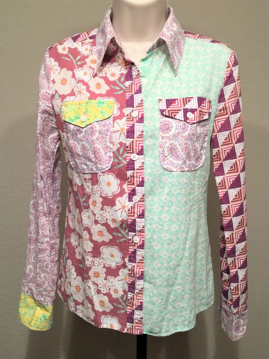 American Retro Size Small Purple Green Mod Shirt