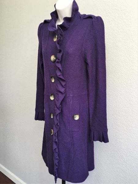 Luii Small Purple Wool Ruffle Front Coat