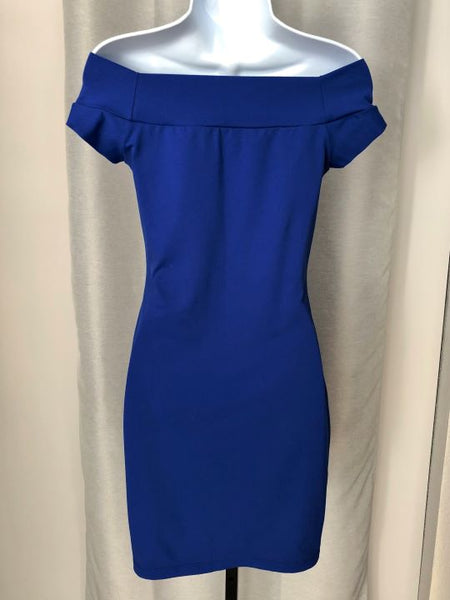 susana monaco SMALL Bright Blue Off Shoulder Dress