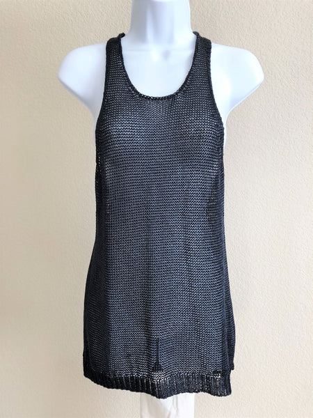VINCE MEDIUM Navy Mesh Tank Top