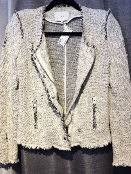 IRO SMALL Off-White Distressed Tweed Blazer