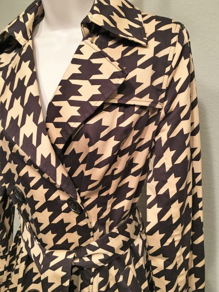 Vertigo Paris Size Small Brown Houndstooth Trench Coat