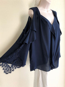 Kobi Halpern Size Large Navy Silk Top