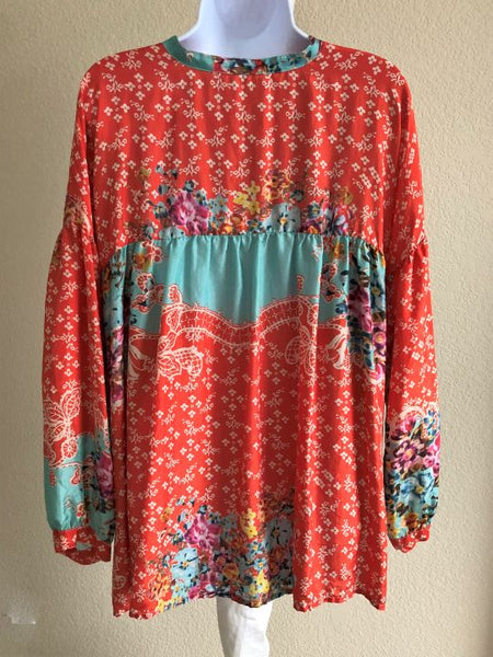 Johnny Was Size Small Red and Aqua Silk Top