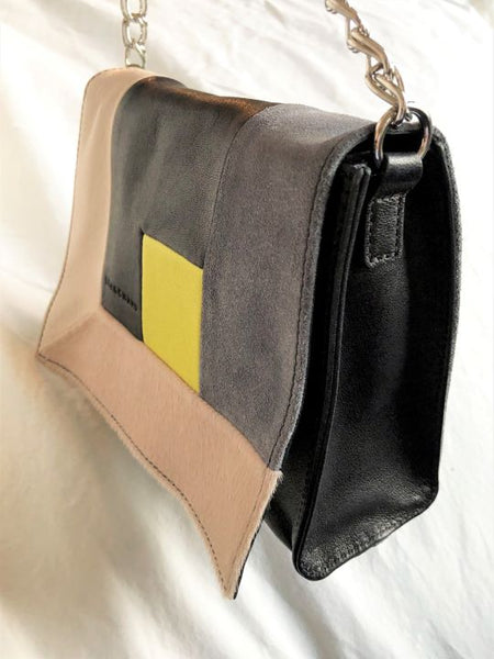 Longchamp Black and Beige Color Block Cross Body
