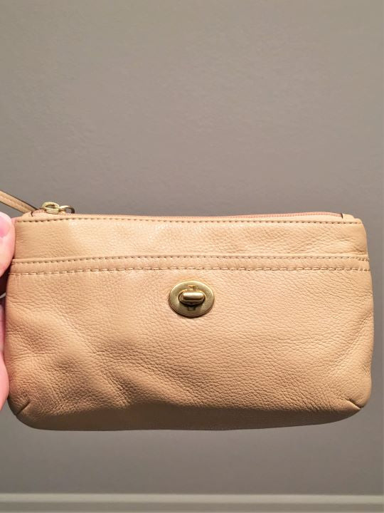 COACH Tan Leather Wristlet