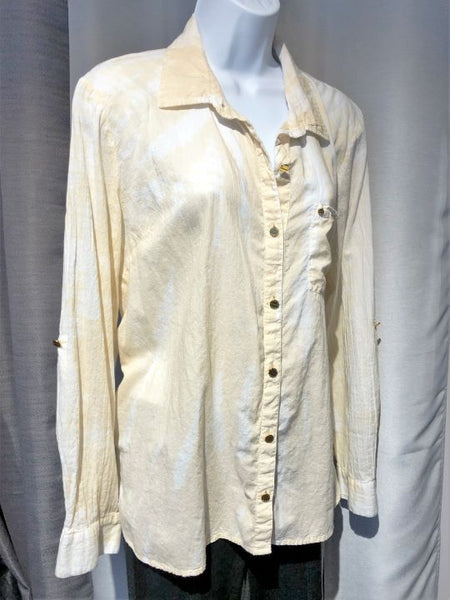 Michael Kors Size XL Cream Tie Dye Button up Shirt