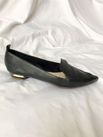 Nicholas Kirkwood Size 10.5 Beya Black Leather Flats