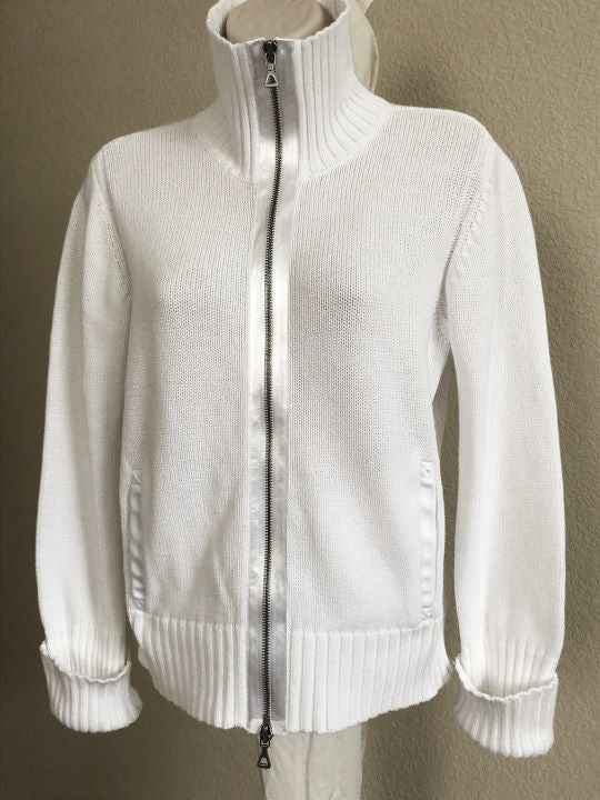 Magaschoni Size Medium White Zip Cardigan