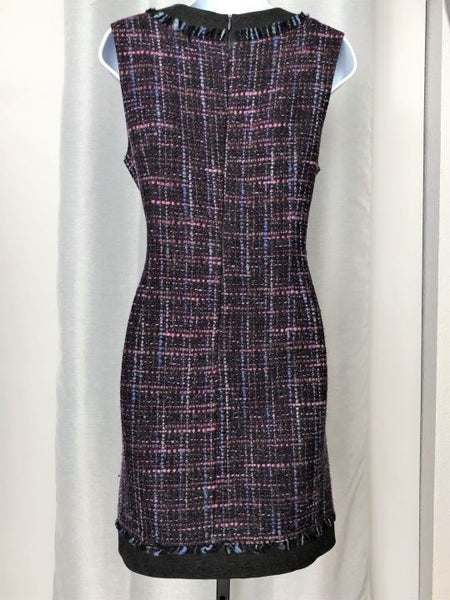 Trina Turk Size 6 Purple Tweed Sleeveless Dress