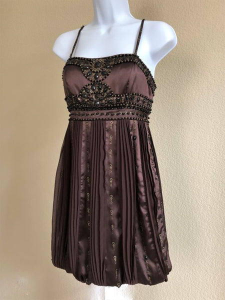 Sue Wong Size 0 Brown Beaded Dress