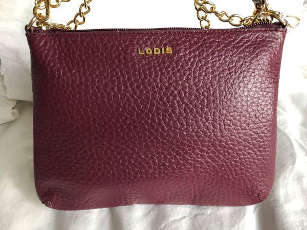 Lodis Burgundy Leather Cross Body