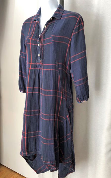 Isabella Sinclair Anthropologie Size Small Navy Flannel Dress