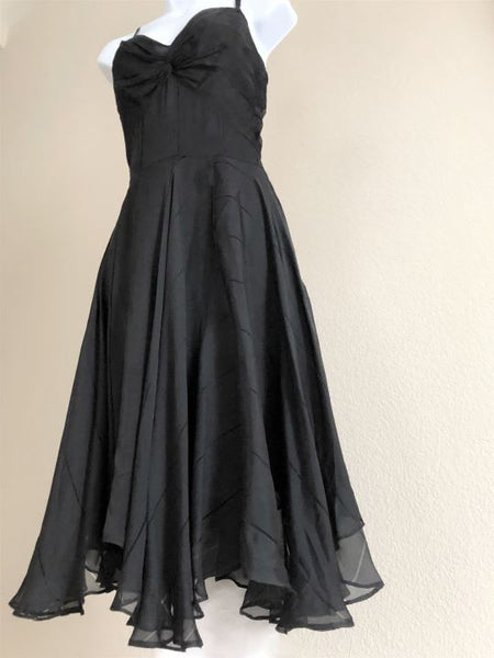 Milly Size 10 Black Silk Swing Dress