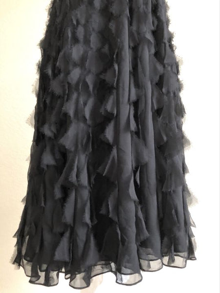 WHBM Size 2 Black Halter Ruffle Dress