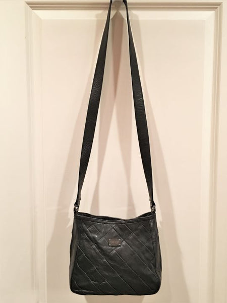 treesje Black Leather Quilted Crossbody Bag