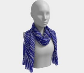Royal Blue and Gray Waves Scarf